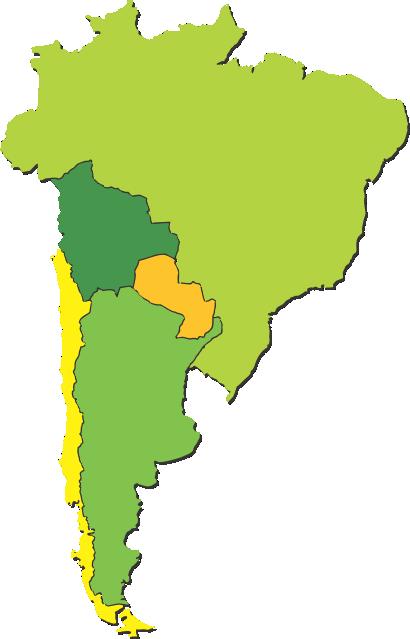 1780 (Argentina), 1868 (Chile), 1936 (Brasil), 1976 (Paraguay), 1998 (Bolivia)